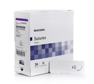 Suture with Needle McKesson Absorbable Braided, Polyglycolic Acid Size 5-0 30 Inch Suture 1-Needle 19 mm 3/8 Circle Reverse Cutting Needle SJ421GX Box/36