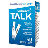 Blood Glucose Test Strips Embrace® 50 Strips per Box Talking For Embrace® Blood Glucose System APX03AB0303 Box/1