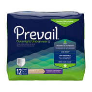 Unisex Adult Absorbent Underwear Prevail® Overnight Pull On with Tear Away Seams Disposable Heavy Absorbency PVX-514 Pack/12