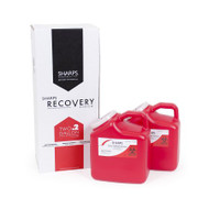 Mailback Sharps Container Sharps Recovery System™ 11 H X 6 W X 9 L Inch 2 Gallon Red Base / White Lid Vertical Entry Snap On Lid 82002-006 Box/2