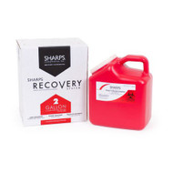 Mailback Sharps Container The Sharps Disposal By Mail System® PRO-TEC® 11 H X 6 W X 9 L Inch 2 Gallon Red Base / White Lid Vertical Entry Snap On Lid 12000-012 Case/12
