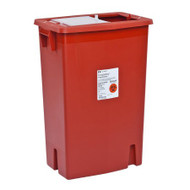 Sharps Container SharpSafety™ 26 H X 18-1/4 W X 12-3/4 D Inch 18 Gallon Red Base / Translucent Lid Vertical Entry Sliding Lid 8938 Each/1