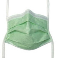 Surgical Mask Fog Shield® Anti-fog Tape Pleated Tie Closure One Size Fits Most Green Diamond NonSterile Not Rated Adult 65 3322 Case/250