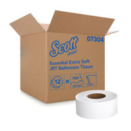 Toilet Tissue Scott® Essential Extra Soft JRT White 2-Ply Jumbo Size Cored Roll Continuous Sheet 3-11/20 Inch X 750 Foot 07304 Roll/1