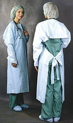 Over-the-Head Protective Procedure Gown One Size Fits Most Blue NonSterile AAMI Level 3 Disposable 235 Box/15
