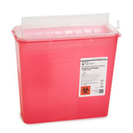 Sharps Container Prevent 2-Piece 10.75H X 10.5W X 4.75D Inch 5 Quart Red Base Horizontal Entry Lid 2262 Case/20