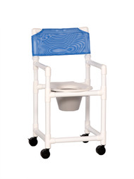 Commode / Shower Chair Standard Fixed Arm PVC Frame Mesh Back 20 Inch Clearance VL SC20 P BLUE Each/1 - 20013300