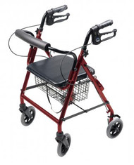 4 Wheel Rollator Lumex Walkabout Burgundy Hemi Height Aluminum RJ4302R Each/1