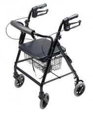 4 Wheel Rollator Lumex Walkabout Black Hemi Height Aluminum RJ4302K Each/1