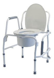 Commode Chair Lumex Silver Collection Drop Arm Steel Frame Removable Back Bar 18.75 to 22.75 Inch 6433A-2 Case/2
