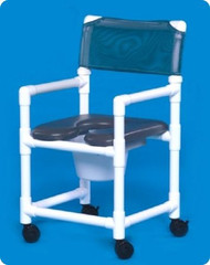 Commode / Shower Chair Fixed Arm PVC Frame Mesh Back 38 Inch VL OF 17 P Each/1