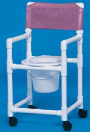 Commode / Shower Chair Standard Fixed Arm PVC Frame Mesh Back 20 Inch Clearance VL SC20 TEAL Each/1