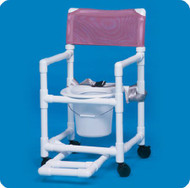 Commode / Shower Chair Standard Fixed Arm PVC Frame Mesh Back 17 Inch Clearance VL SC17 WINEBERRY Each/1