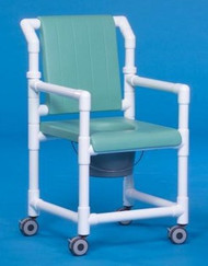 Commode / Shower Chair Deluxe Fixed Arm PVC Frame With Backrest 17 Inch SCC701 Each/1 - 71013309