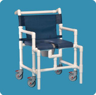 Commode / Shower Chair Oversize Fixed Arm PVC Frame Mesh Back 19 Inch Clearance SCC750 OS N BLUE Each/1
