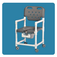 Commode / Shower Chair Elite Fixed Arm PVC Frame With Backrest 17 Inch Clearance ELT817 P G Each/1