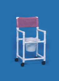 Commode / Shower Chair Standard Fixed Arm PVC Frame Mesh Back 20 Inch Clearance VL SC20 P TEAL Each/1