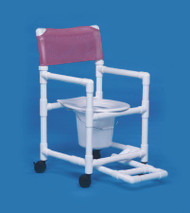 Commode / Shower Chair Standard Fixed Arm PVC Frame Mesh Back 17 Inch Clearance VL SC17 P FR WINEBERRY Each/1