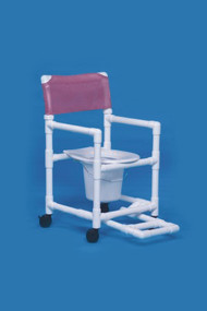 Commode / Shower Chair Standard Fixed Arm PVC Frame Mesh Back 17 Inch Clearance VL SC17 P FR BLUE Each/1