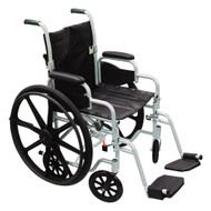 Lightweight Transport Chair Poly-Fly Aluminum, Silver 250 lbs. Fixed Arms, Padded Black TR18 Case/1 - 18884209