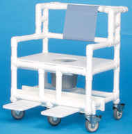Bariatric Commode / Shower Chair ipu Fixed Arm PVC Frame Mesh Back 21.5 Inch BSC660P Each/1 - 66083309