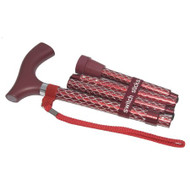 Folding Cane Switch Sticks Aluminum 32 to 37 Inch Engraved Ruby Red 502-2000-5204 Each/1