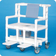 Bariatric Commode / Shower Chair ipu Fixed Arm PVC Frame Mesh Back 21.5 Inch BSC660P Each/1 - 66043309
