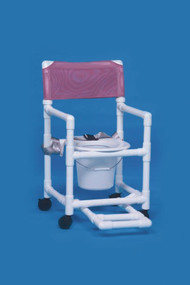 Commode / Shower Chair Standard Fixed Arm PVC Frame Mesh Back 17 Inch Clearance VL SC17 P FRSB BLUE Each/1