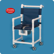 Commode / Shower Chair Deluxe Fixed Arm PVC Frame Mesh Back 17 Inch Clearance SC717PN Each/1