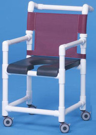 Shower Chair Deluxe Fixed Arm PVC Frame Mesh Back 17 Inch Clearance SC717N Each/1 - 71153309