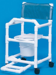 Commode / Shower Chair Standard Fixed Arm PVC Frame Mesh Back 17 Inch Clearance VL SC17 P FRLB Each/1 - 17033329