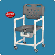 Commode / Shower Chair Elite Fixed Arm PVC Frame With Backrest 17 Inch Clearance ELT817 P B Each/1