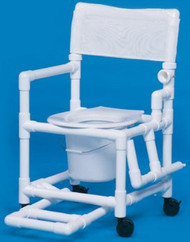 Commode / Shower Chair Standard Fixed Arm PVC Frame Mesh Back 17 Inch Clearance VL SC17 P TEAL Each/1