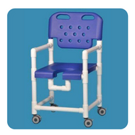 Commode / Shower Chair Elite Fixed Arm PVC Frame With Backrest 17 Inch Clearance ELT817 PFR R Each/1