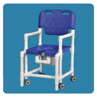 Commode / Shower Chair Elite Fixed Arm PVC Frame With Backrest 17 Inch Clearance ELT817 PFR B Each/1