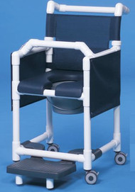 Commode / Shower Chair Deluxe Fixed Arm PVC Frame Mesh Back 20 Inch Clearance SCC777G Each/1 - 77653309