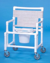 Commode / Shower Chair Oversize Fixed Arm PVC Frame Mesh Back 19 Inch Clearance SCC9250 OS Each/1