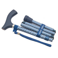 Folding Cane Switch Sticks Aluminum 32 to 37 Inch Engraved Azure Blue 502-2000-5200 Each/1