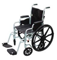 Transport Wheelchair Poly-Fly High Strength Lightweight Padded Fixed Height Full Arm Mag Black 16 Inch 250 lbs. TR16 Each/1 - 76604200