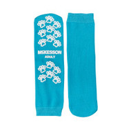 Slipper Socks McKesson Terries Adult Large Teal Above the Ankle 40-3828 Case/48