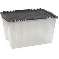 "CD383 Plastic Containers (BLACK flip top) 21.5""Lx15""Wx12.5""H"