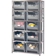 "CF056 Shelving (w/10 GREY plastic bins) 42""Wx18""Dx76""H"