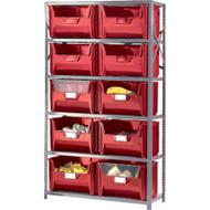 "CF066 Shelving (w/10 RED plastic bins)  42""Wx18""Dx76""H"