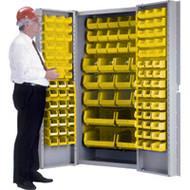 """CB445 Storage Cabinets YLW bins38""""Wx24""""Dx72""""H"""