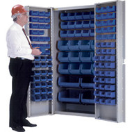 "CB443 Storage Cabinets BLUE bins38""Wx24""Dx72""H"