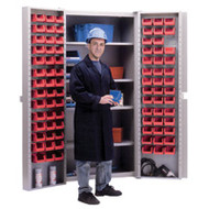 "CB477 Storage Cabinets Red bins38""Wx24""Dx72""H"