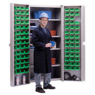 "CB693 Storage Cabinets Green bins38""Wx24""Dx72""H"