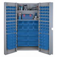 """CF355 Storage Cabinets Blue bins38""""Wx24""""Dx72""""H"""