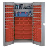 "CF356 Storage Cabinets Red bins38""Wx24""Dx72""H"