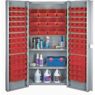 "CF372 Storage Cabinets Red bins38""Wx24""Dx72""H"